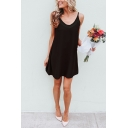 Plain Simply Ladies' Sleeveless Sheer Mesh Patched Cotton Short A-Line Cami Dress