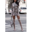 Sexy Street Female Long Sleeve High Neck Snake Print Mini Bodycon Dress