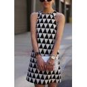 Fashion Ladies' Sleeveless Crew Neck Geometric Print Short A-Line Dress in Black