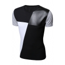 Simple PU Panel Colorblocked Short Sleeve Round Neck Slim Fitted Summer T-Shirt