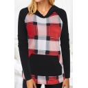 Womens Classic Plaid Patchwork Colorblock Long Sleeves Slim Fit Pullover Hoodie