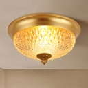 Brass 2 Heads Flush Mount Lamp Colonialism Ribbed Glass Bowl Ceiling Fixture for Foyer