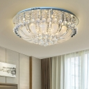 Round Flushmount Contemporary Cut Crystal 19.5