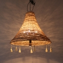 Rattan Flared Hanging Ceiling Light with Tassel Accents Chinese Style 1 Bulb Pendant Lamp for Restaurant