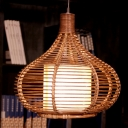 Brown Gourd Pendant Lamp Tropical Style 1 Light Rattan Handwoven Hanging Light with Inner Shade