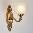 Brass 1/2-Head Wall Light Metal Curved Wall Sconce Lamp with Frosted Glass Petal Shade for Living Room