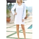 Formal Elegant Ladies' Long Sleeve V-Neck Short Sheath Work Dress in Light Blue