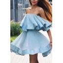 Plain Cute Girls' Sleeveless Strapless Ruffled Trim Slit Side Midi Bodycon Dress