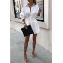 Women's Trendy White Long Sleeve Lapel Collar Button Down Pleated Mini A-Line Shirt Dress