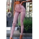 Edgy Girls' High Waist Button Detailed Long Skinny Pants in Pink