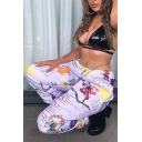 Street Chic Stylish Women's Mid Rise Mixed Patterned Cuffed Long Baggy Carrot Trousers in White