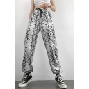Girls' Grey Sport Elastic Waist Drawstring Cuffed Long Oversize Tapered Pants