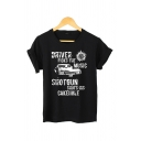 Creative DRIVER PICKS THE MUSIC Letter Print Short Sleeves Crew Neck Loose Graphic T-Shirt