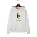 Running Cartoon Avocado AVO-CARDIO Letter Printed Long Sleeve Pullover Hoodie