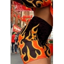 Women's Chic Hot Street High Waist Flame Patterned Stretchy Skinny Shorts for Nightclub