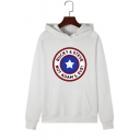 Classic Star Logo Printed Long Sleeve Pouch Pocket Drawstring Hoodie