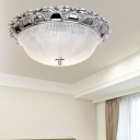 Prism Crystal Dome Flush Mount Lamp Minimalist 3 Heads Silver Ceiling Light Fixture