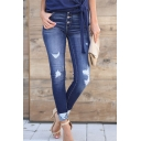 Casual Dark Blue Mid Rise Button Down Distressed Bleach Rolled Cuffs Skinny Ankle Jeans for Female