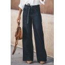 Navy Blue Street Trendy High Waist Bow Tie Full Length Relaxed Fit Wide-Leg Jeans for Women