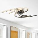 Modern Twist Crystal Semi Flush Mount LED Ceiling Light Fixture in Chrome for Living Room, White/Warm Light