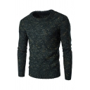 Mens Hot Popular Long Sleeve Round Neck Cable Knit Confetti Sweater Jumper