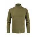 Mens Popular Cross Stripe Splicing Long Sleeve High Neck Army Green Solid Pullover Sweater