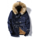 Mens New Trendy Navy Long Sleeve Loose Buckskin Toggle Coat Parka with Fur Patched Hood