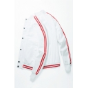 Simple Stripe Printed Long Sleeve Single Breasted Stand Collar Leisure Varsity Baseball Jacket