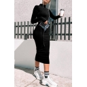 Winter Popular Solid Color Long Sleeve High Collar Slim Fit Casual Midi Dress