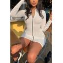 Womens Casual Plain High Collar Long Sleeve Metal Zipper Slim Fit Mini Bodycon Dress