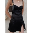 Womens Basic Solid Color Open Back Split Front Black Mini Strap Dress for Party