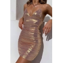 Women's Sexy Plain Metallic V-Neck Backless Dancing Club Bodycon Mini Strap Dress