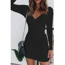 Women's Classic Long Sleeve Surplice V Neck Solid Color Mini Sheath Casual Party Dress