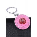 Pink Popular Letter Red Rose Pattern Pendant Keychain 3.2*3.2cm