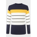 Mens Leisure Colorblocked Stripe Printed Long Sleeve Round Neck Casual Fitted Knit Pullover Sweater