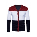 Mens Fashion Colorblock Long Sleeve V-Neck Button Down Slim Fit Cardigan Coat
