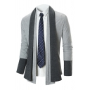 Mens Popular Color Block Shawl Collar Long Sleeve Open-Front Casual Knitted Cardigan