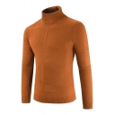 Mens Designer Plain Turn-Down Collar Long Sleeve Slim Fit Textured Knit Pullover Sweater