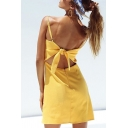 Casual Solid Color Spaghetti Straps Cutout Knot Back Mini A-Line Misses Dress