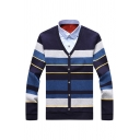 Mens Casual Stripes Printed Long Sleeve Button Down Patched Collar False Two Piece Cardigan