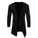 Mens Leisure Plain Long Sleeve Open Front Hooded Cardigan Coat