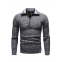 Mens Active Plain Long Sleeve Quarter Zip Slim Fit Knitted Polo Sweater