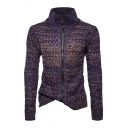 Mens Warm High Collar Long Sleeve Zip Up Slim Fit Casual Chunky Knitted Cardigan Coat