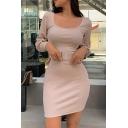 Edgy Ladies Plain U-Shaped Collar Bishop Long Sleeve Khaki Belted Mini Sheath Dress