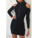 Womens Sexy Cold Shoulder Long Sleeve Mock Neck Zip Placket Black Mini Knitted Party Dress