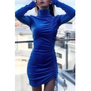 Winter Chic Solid Color Royal Blue High Collar Drawstring Ruched Hem Velvet Mini Bodycon Dress