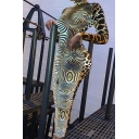 Unique Leopard and Zebra Patch Pattern Long Sleeve High Collar Basic Maxi Bodycon Dress for Party