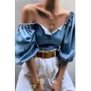Womens Elegant Plain Blue Lantern Half Sleeve Square Neck Button Down Leisure Denim Blouse Top