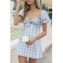 Womens Classic Bowknot Front Check Print Puff Short Sleeve Blue Mini A-Line Sweetheart Dress