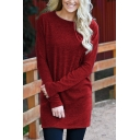 Womens Casual Solid Color Long Sleeve Round Neck Longline Knitted T-Shirt Top